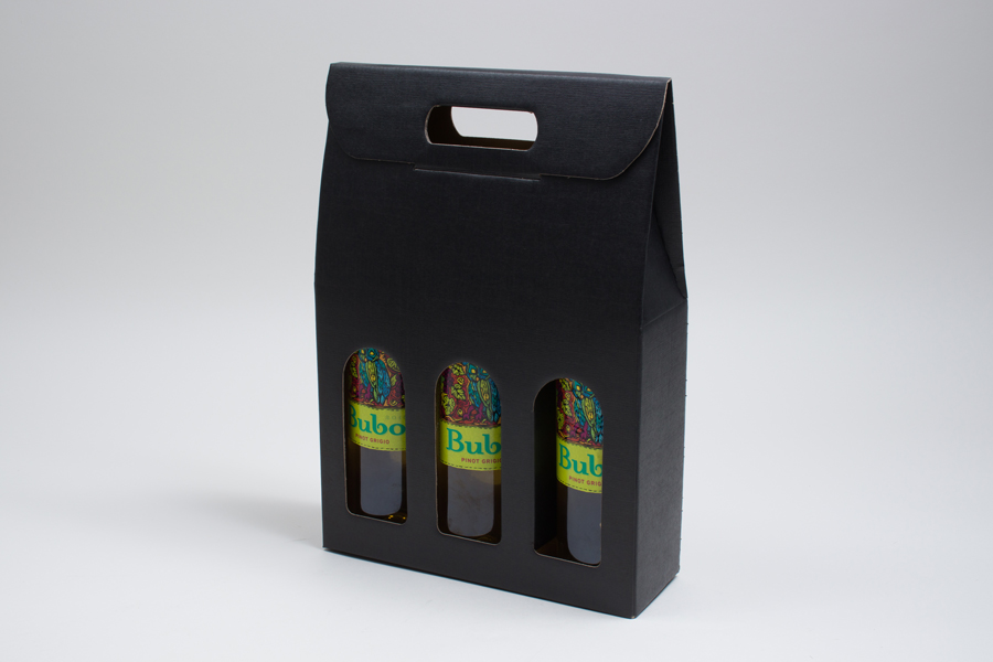 "10.625 X 3.5 X 15"" BLACK LINEN WINE BOTTLE BOXES WITH WINDOWS - 3 (750ML) BOTTLES"