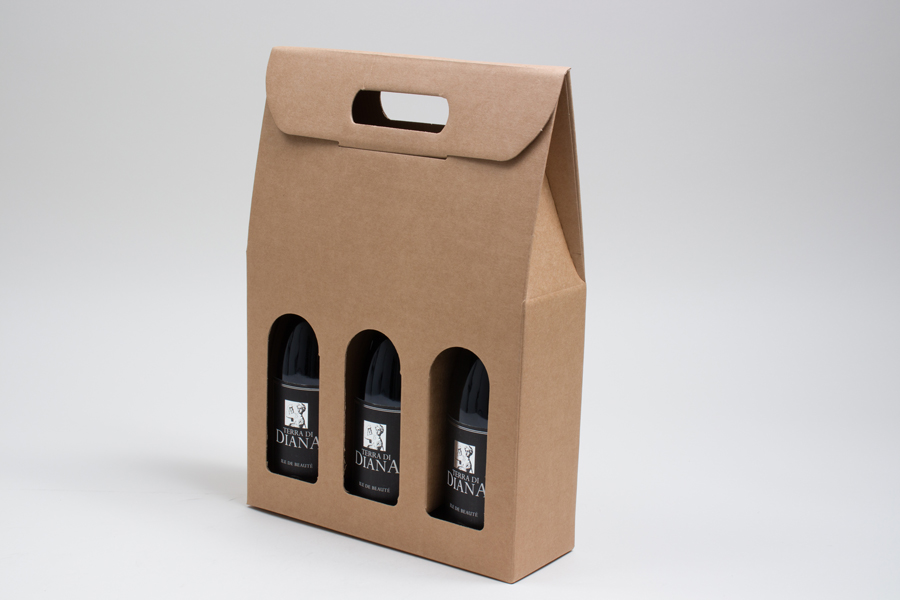 "10.625 X 3.5 X 15"" SMOOTH KRAFT WINE BOTTLE BOXES WITH WINDOW - 3 (750ml) BOTTLE"