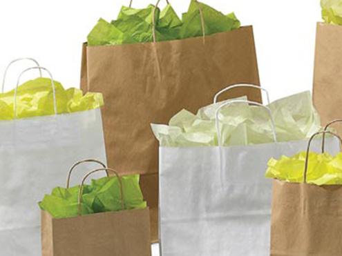 Clearance Item - Natural Kraft & White Kraft Paper Shopping Bags