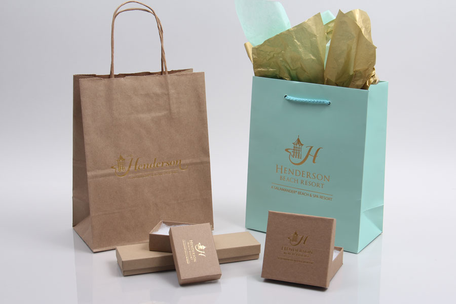 Custom Printed Paper Eurotote Shopping Bags and Jewelry Boxes - Henderson Resort