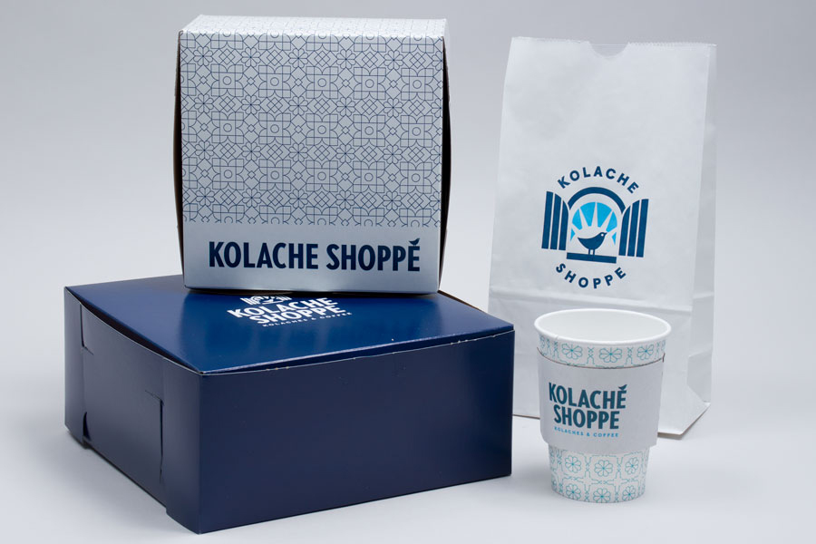 Kolache Shoppe Custom printed cups, boxes and bags