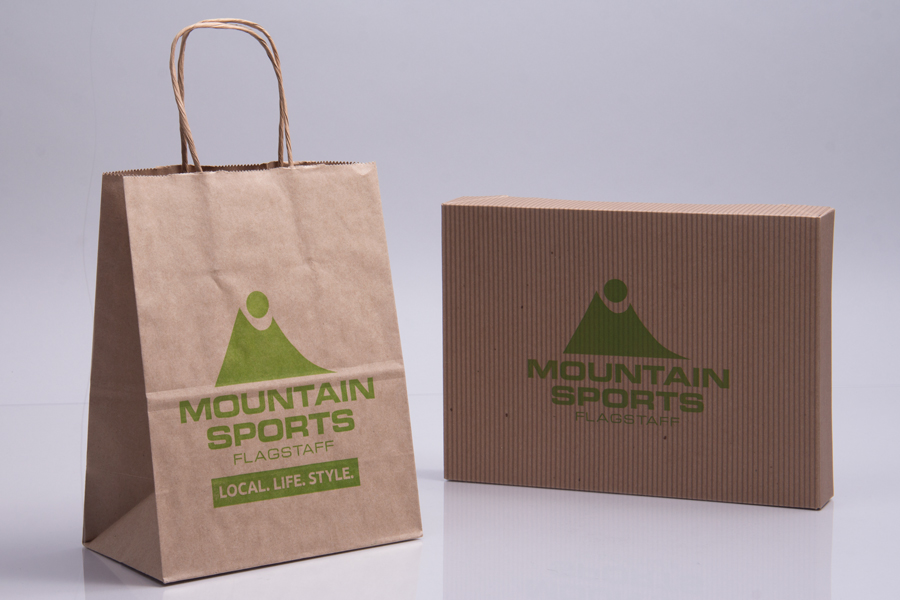 Semi-Custom Printing Options - Ink Printed Shopping Bags and Apparel Boxes  - Mountain Sports