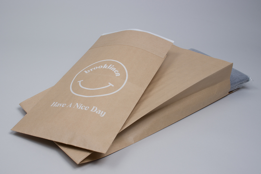 Custom printed paper shipping bags - Brooklinen