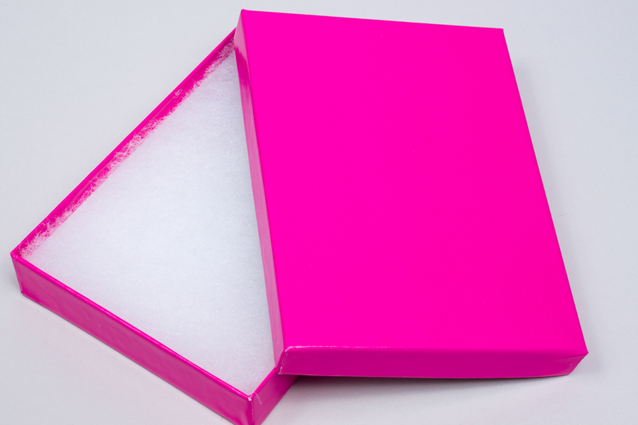 (#53) 5-1/4 X 3-3/4 X 7/8 GLOSS FUCHSIA JEWELRY BOXES
