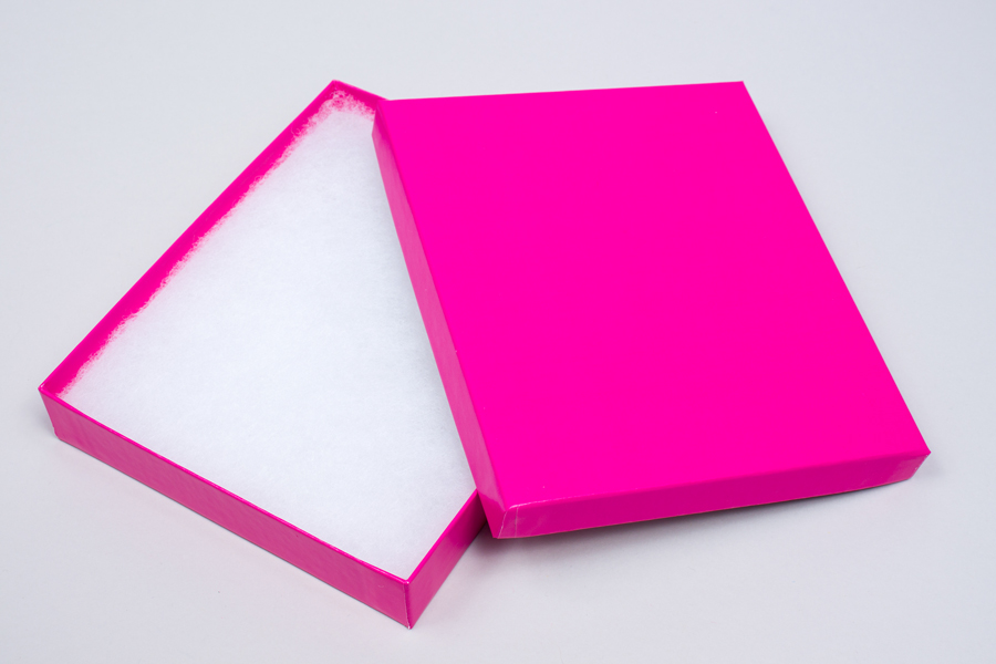 (#65) 6 X 5 X 1 GLOSS FUCHSIA JEWELRY BOXES