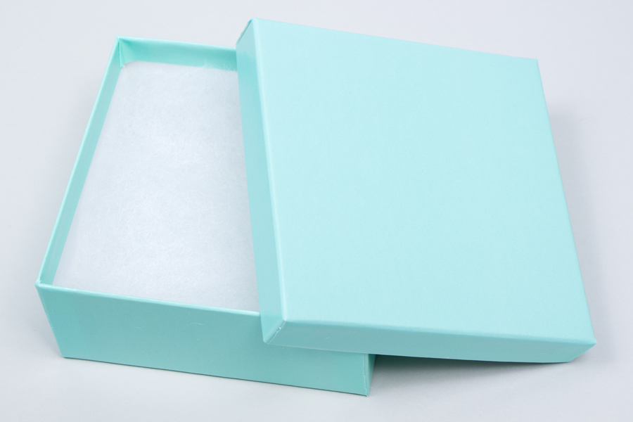 (#33D) 3-1/2 X 3-1/2 X 1-1/2 BLUE ICE GLOSS JEWELRY BOXES