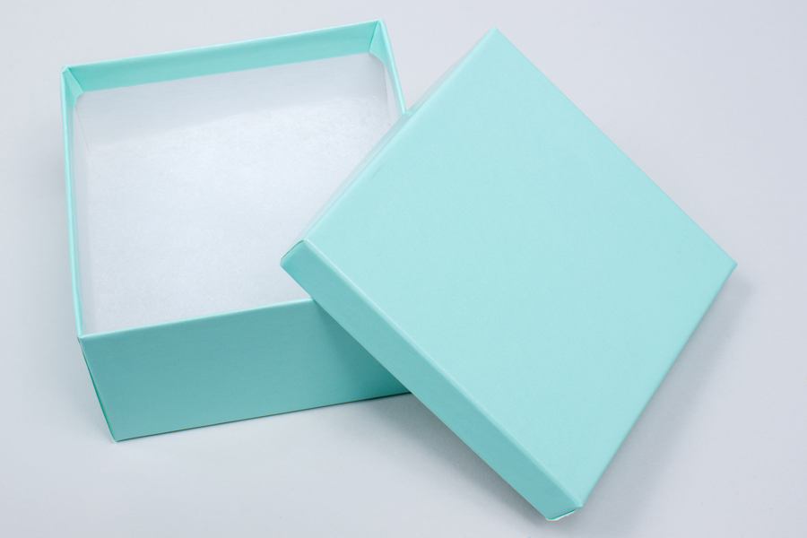 (#34) 3-1/2 X 3-1/2 X 2BLUE ICE GLOSS JEWELRY BOXES
