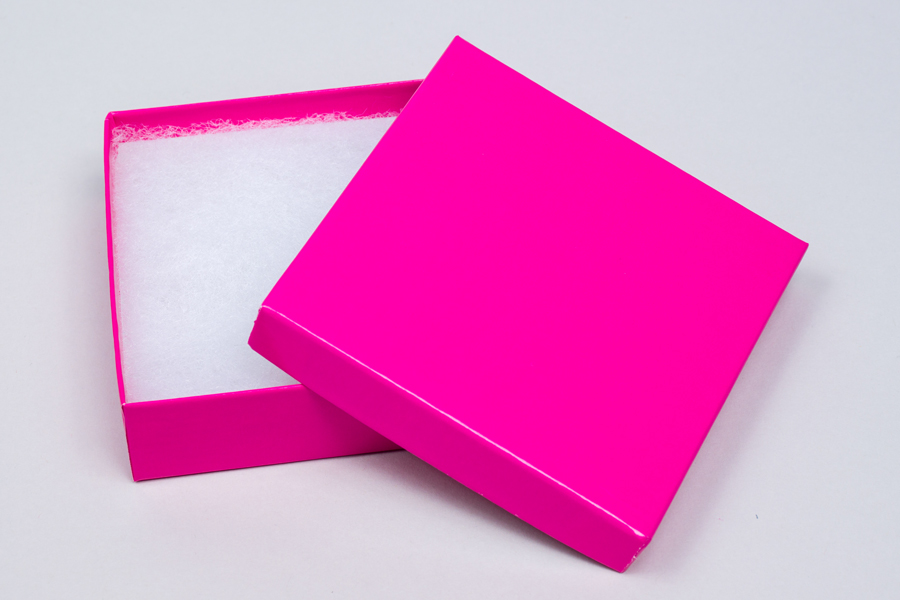 (#33) 3-1/2 X 3-1/2 X 1 GLOSS FUCHSIA JEWELRY BOXES