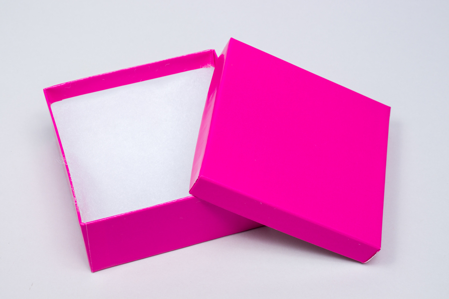 (#33D) 3-1/2 X 3-1/2 X 1-1/2 GLOSS FUCHSIA JEWELRY BOXES