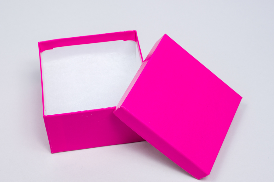 (#34) 3-1/2 X 3-1/2 X 2 GLOSS FUCHSIA JEWELRY BOXES