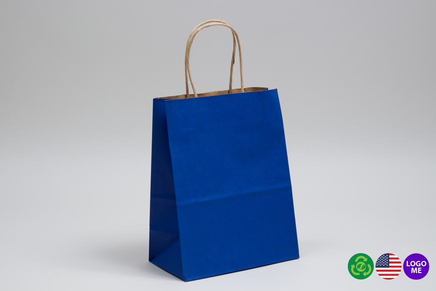 8 x 4.5 x 10.25 MATTE PARADE BLUE COLOR TINTED KRAFT PAPER SHOPPING BAGS - ***LIMITED AVAILABILITY***