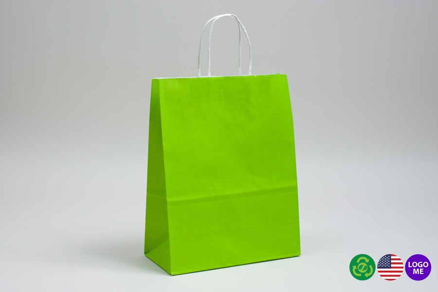 8 x 4.5 x 10.25 CITRUS GREEN COLOR TINTED PAPER SHOPPING BAGS - ***LIMITED AVAILABILITY***