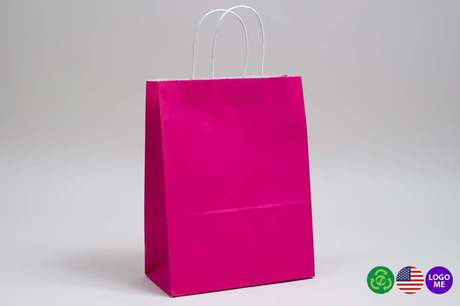 8 x 4.5 x 10.25 CERISE PINK COLOR TINTED PAPER SHOPPING BAGS - ***LIMITED AVAILABILITY***