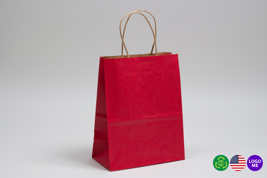8 x 4.5 x 10.25 MATTE SCARLET RED COLOR TINTED KRAFT PAPER SHOPPING BAGS - ***LIMITED AVAILABILITY***