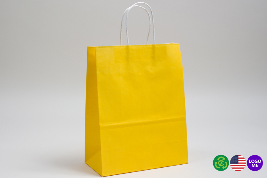 8 x 4.5 x 10.25 BUTTERCUP YELLOW COLOR TINTED PAPER SHOPPING BAGS - ***LIMITED AVAILABILITY***