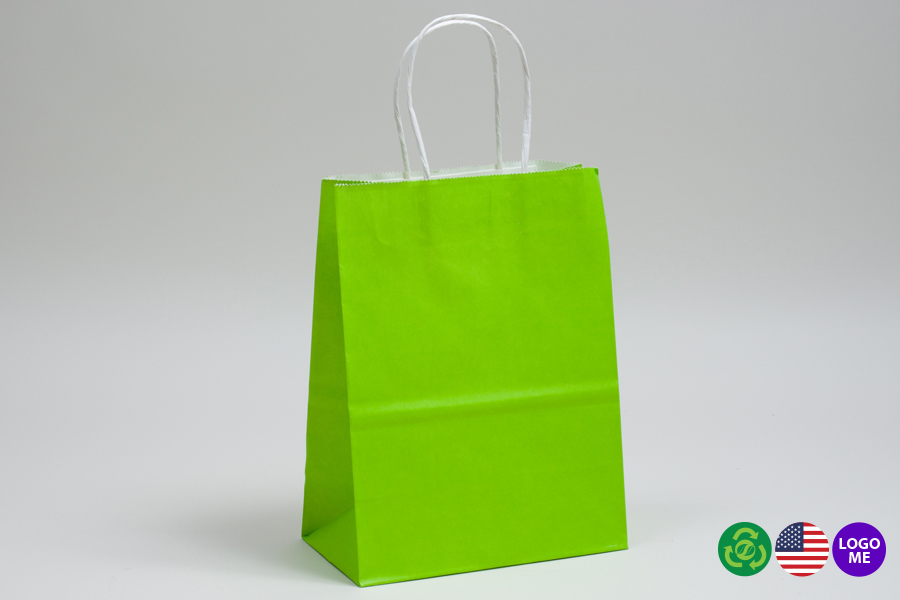 10 x 5 x 13 CITRUS GREEN COLOR TINTED PAPER SHOPPING BAGS - ***LIMITED AVAILABILITY***