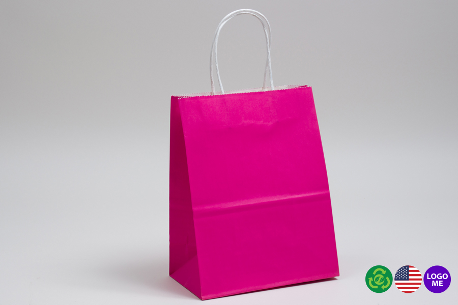 10 x 5 x 13 CERISE PINK COLOR TINTED PAPER SHOPPING BAGS - ***LIMITED AVAILABILITY***