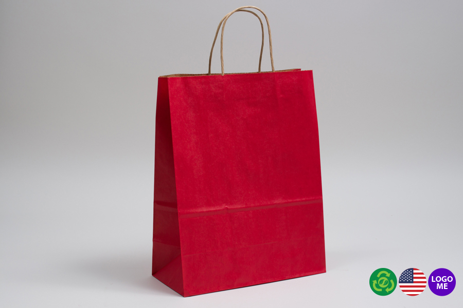 10 x 5 x 13 MATTE SCARLET RED COLOR TINTED KRAFT PAPER SHOPPING BAGS - ***LIMITED AVAILABILITY***