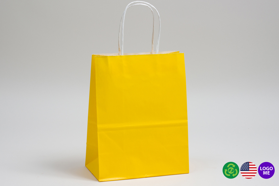 10 x 5 x 13 BUTTERCUP YELLOW COLOR TINTED PAPER SHOPPING BAGS - ***LIMITED AVAILABILITY***