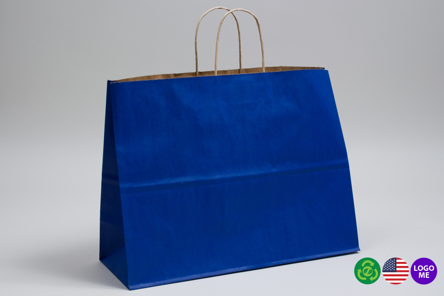 16 x 6 x 12 MATTE PARADE BLUE COLOR TINTED KRAFT PAPER SHOPPING BAGS - ***LIMITED AVAILABILITY***