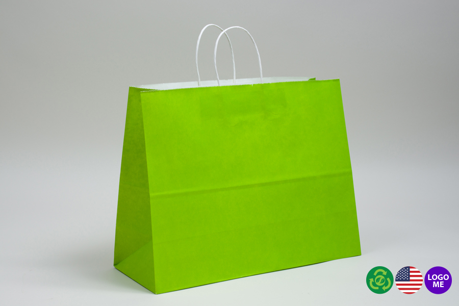 16 x 6 x 12 CITRUS GREEN COLOR TINTED PAPER SHOPPING BAGS - ***LIMITED AVAILABILITY***