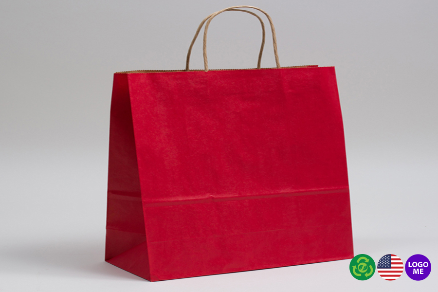 16 x 6 x 12 MATTE SCARLET RED COLOR TINTED KRAFT PAPER SHOPPING BAGS - ***LIMITED AVAILABILITY***