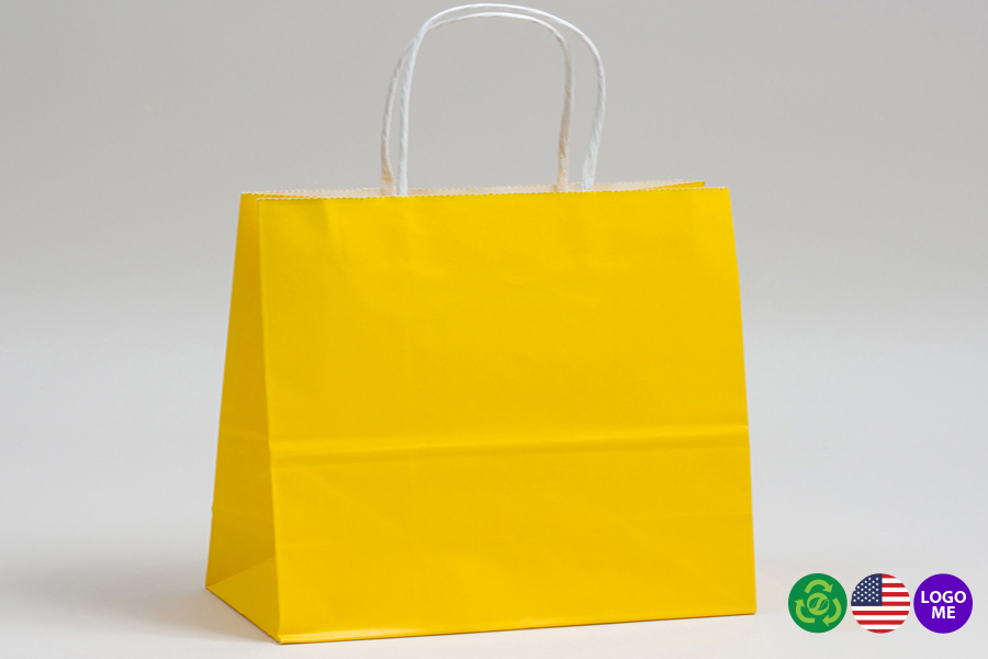 16 x 6 x 12 BUTTERCUP YELLOW COLOR TINTED PAPER SHOPPING BAGS - ***LIMITED AVAILABILITY***