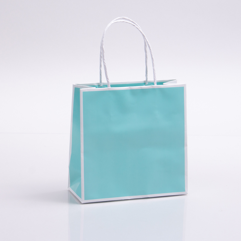 7 x 3 x 7 BAY BLUE WITH WHITE TRIM PAPER SHOPPING BAGS