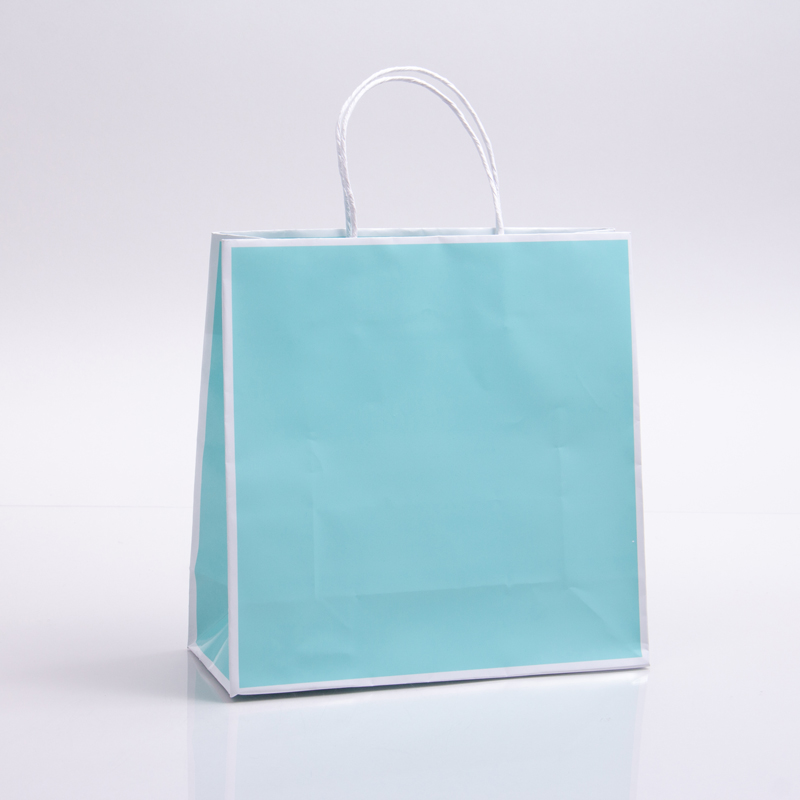 10 x 4 x 10 BAY BLUE WITH WHITE TRIM PAPER SHOPPING BAGS