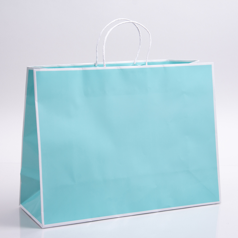 16 x 6 x 12 BAY BLUE WITH WHITE TRIM PAPER SHOPPING BAGS