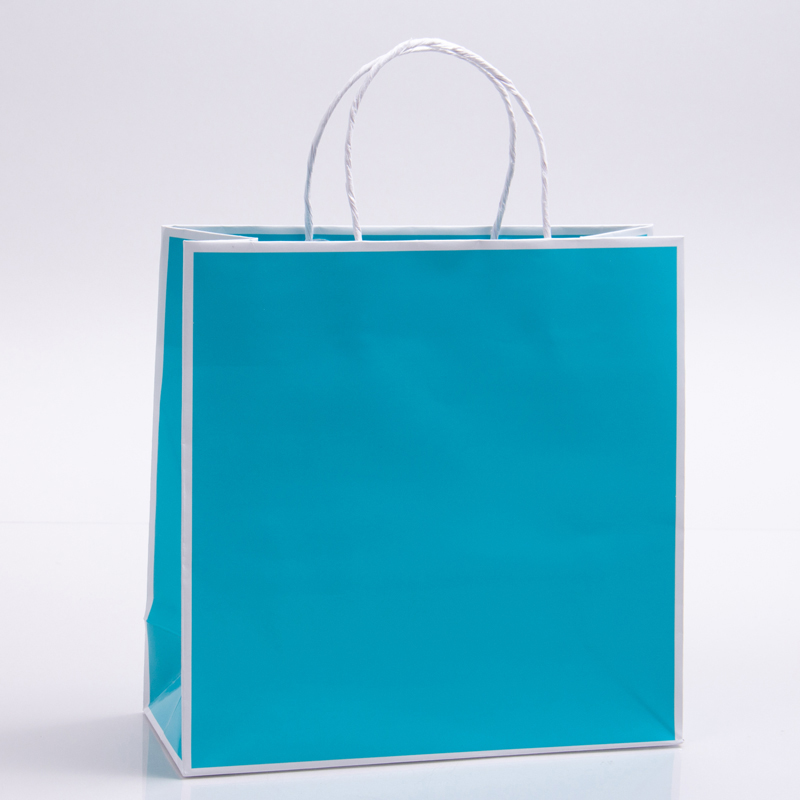 7 x 3 x 7 TURQUOISE WITH WHITE TRIM PAPER SHOPPING BAGS