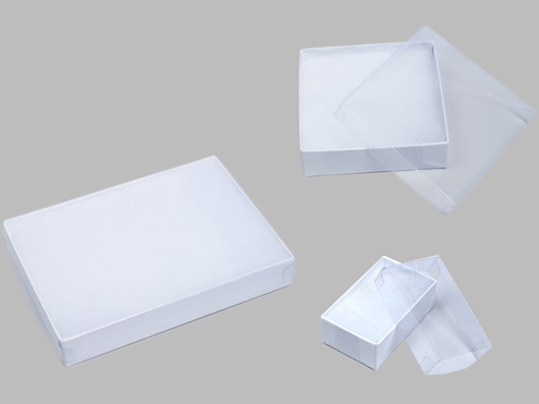 Clear Lid Jewelry Boxes - White Swirl Base