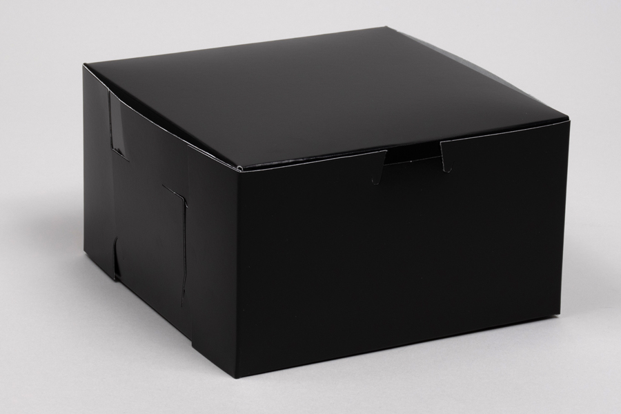 7 x 7 x 4 BLACK GLOSS ONE-PIECE BAKERY BOXES