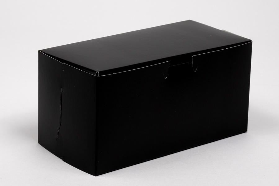 8 x 4 x 4 BLACK GLOSS ONE-PIECE BAKERY BOXES