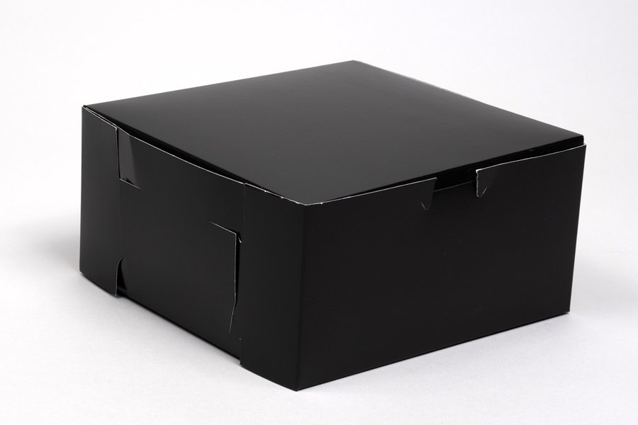 8 x 8 x 4 BLACK GLOSS ONE-PIECE BAKERY BOXES