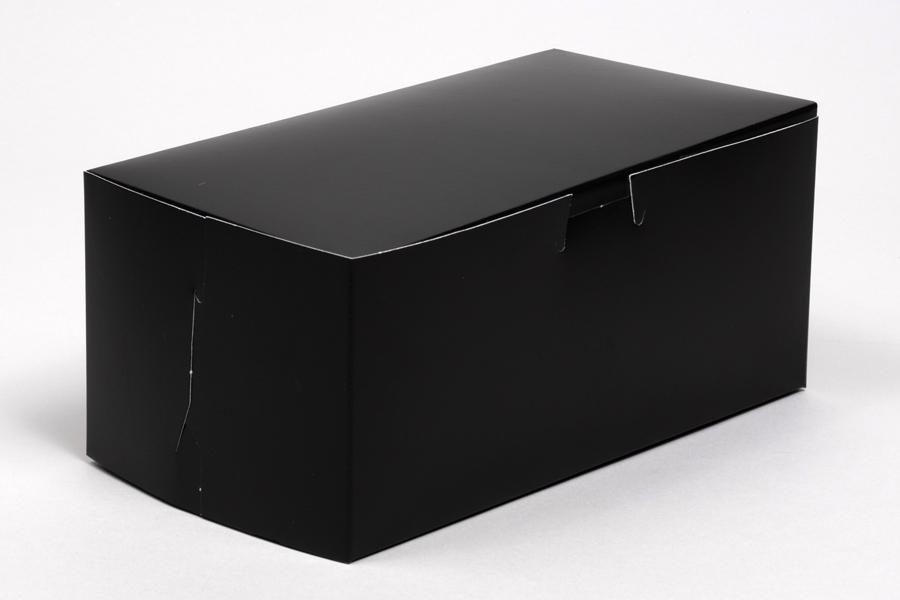9 x 5 x 4 BLACK GLOSS ONE-PIECE BAKERY BOXES
