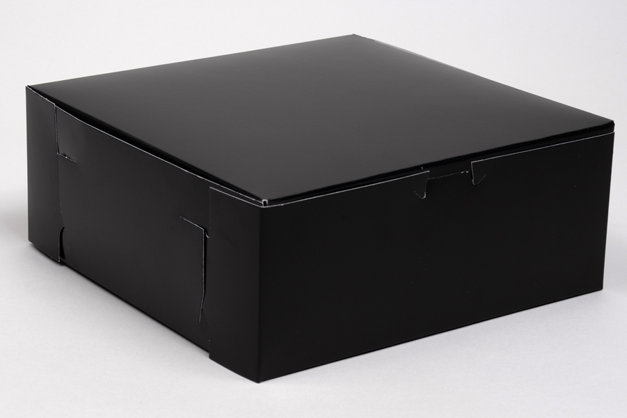 10 x 10 x 4 BLACK GLOSS ONE-PIECE BAKERY BOXES
