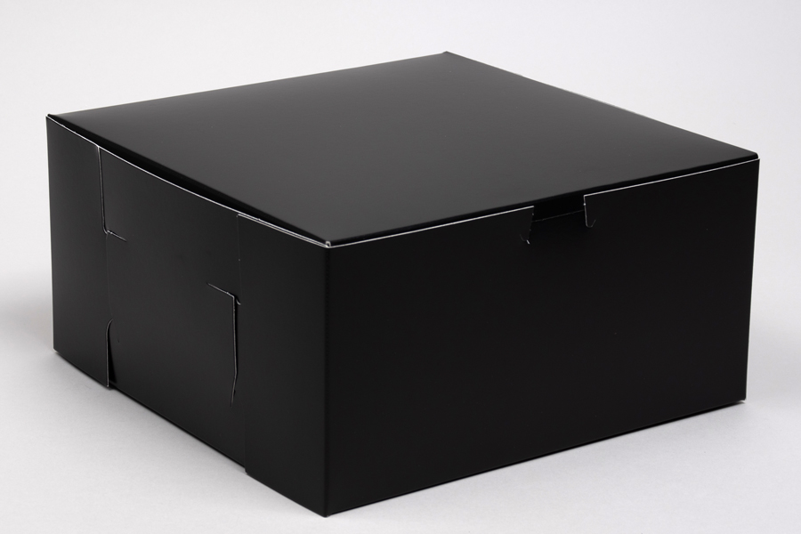 10 x 10 x 5 BLACK GLOSS ONE-PIECE BAKERY BOXES