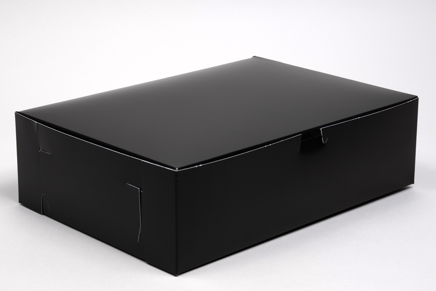 14 x 10 x 4 BLACK GLOSS ONE-PIECE BAKERY BOXES