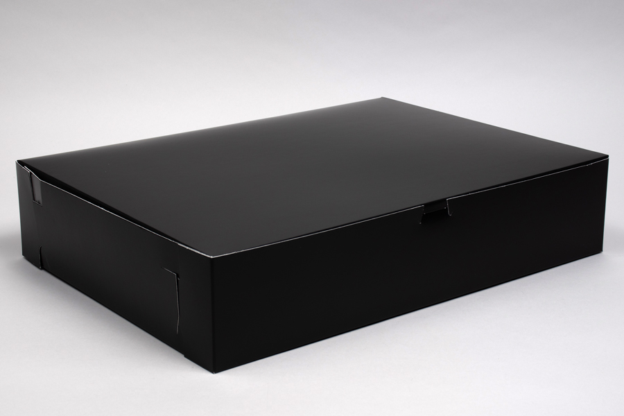 19 x 14 x 4 BLACK GLOSS ONE-PIECE BAKERY BOXES