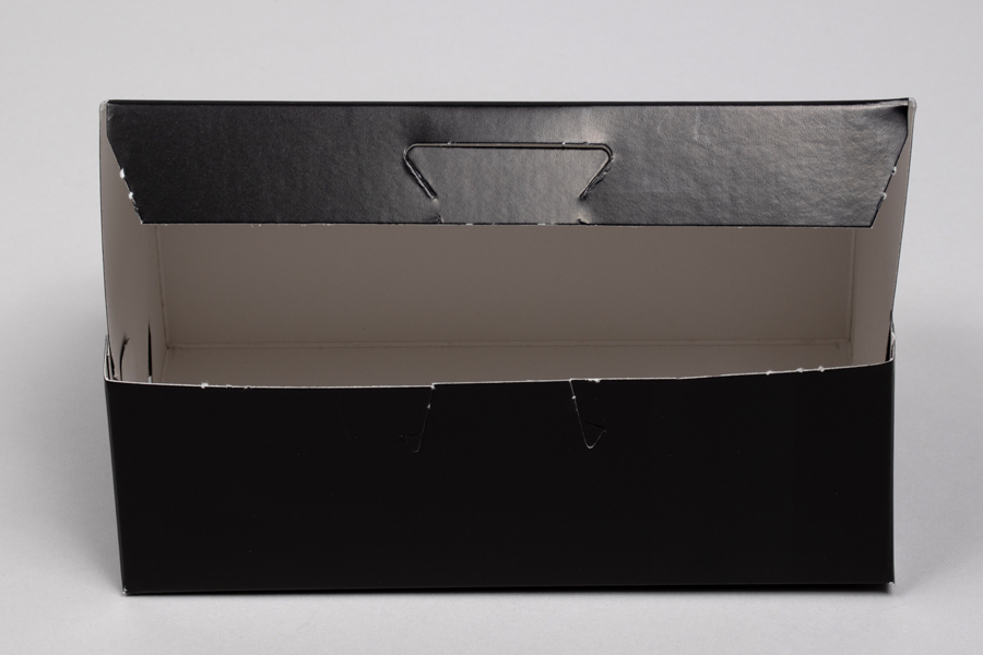 6-1/4 x 3-3/4 x 2-1/8 BLACK GLOSS ONE-PIECE BAKERY BOXES