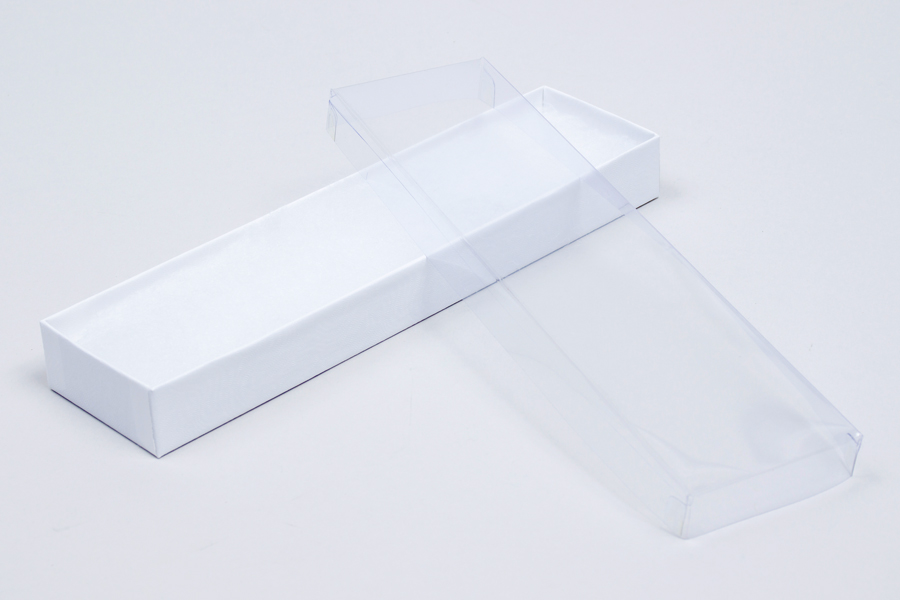 (#V82A) 8 X 2 X 7/8 CLEAR TOP WHITE SWIRL JEWELRY BOXES