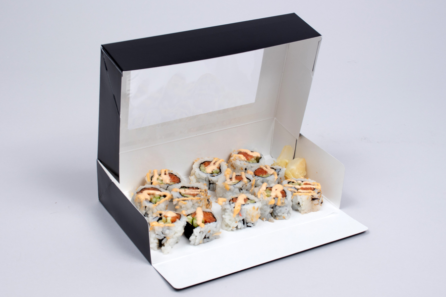 8.5 X 5.25 X 2 BLACK GLOSS SUSHI BOXES WITH VIEW WINDOWS