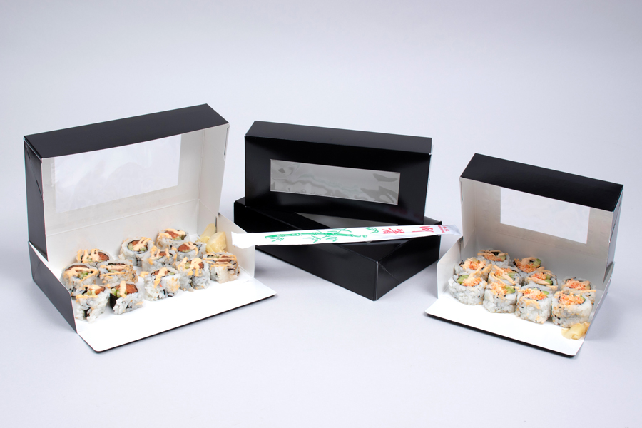 Black Gloss Sushi Boxes with View Windows