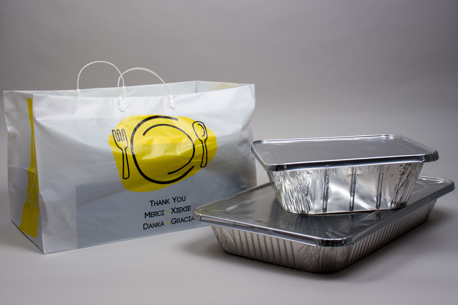 19 x 10 x 12 THANK YOU WHITE PLASTIC HIGH-DENSITY CLIP LOOP TAKEOUT BAGS