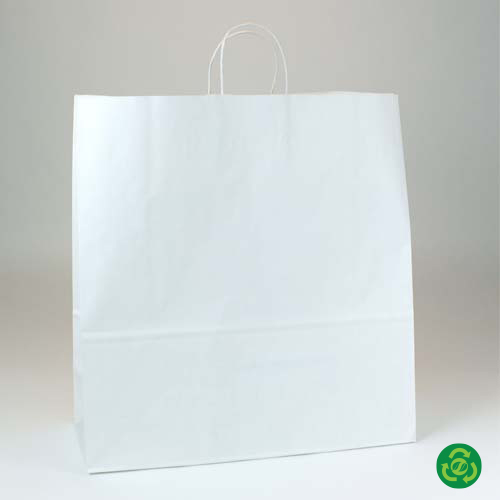 18 x 7 x 18.75 ECONOMY WHITE KRAFT PAPER SHOPPING BAGS ***LIMITED AVAILABILITY***