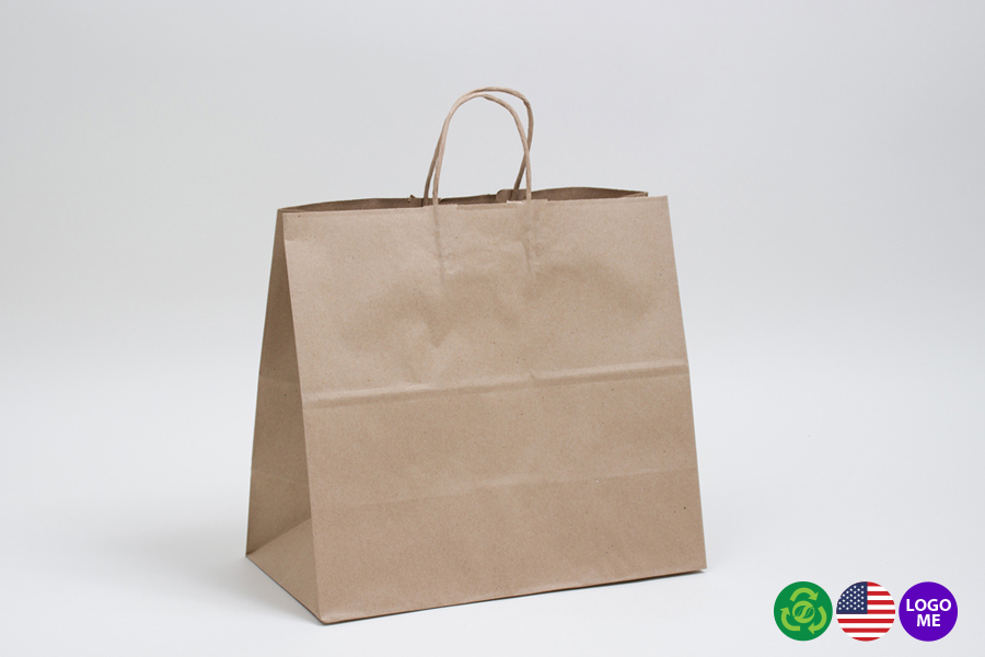 13 x 7 x 13 NATURAL KRAFT PAPER SHOPPING BAGS