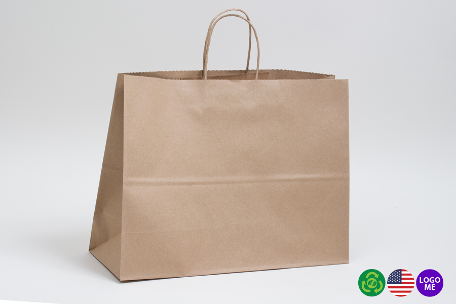 24 x 7.5 x 18.75 NATURAL KRAFT PAPER SHOPPING BAGS ***LIMITED AVAILABILITY***
