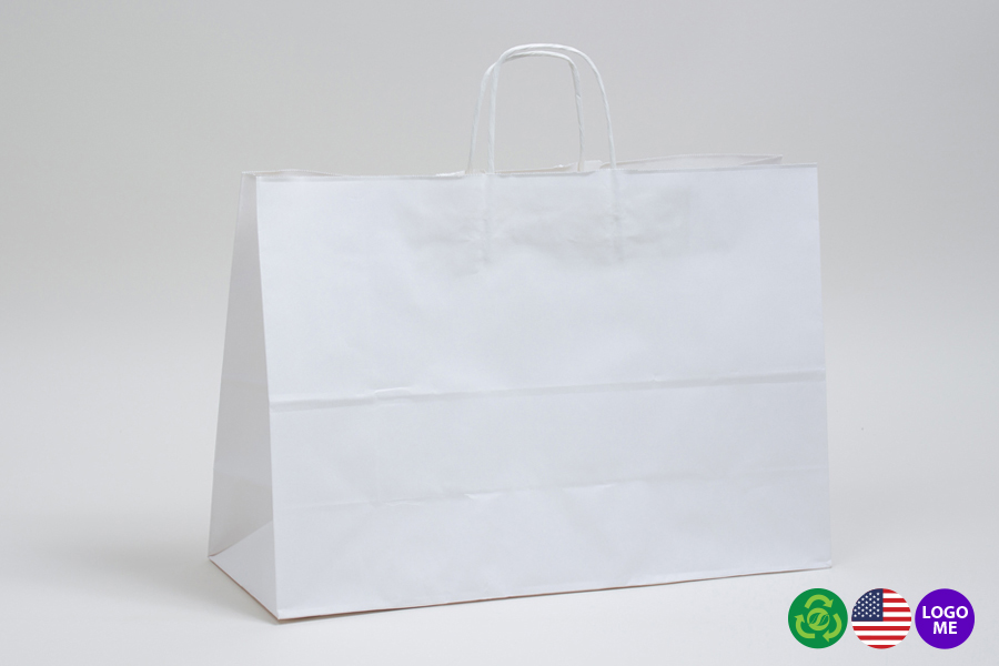 24 x 7.5 x 18.75 WHITE KRAFT PAPER SHOPPING BAGS ***LIMITED AVAILABILITY***
