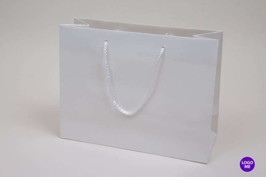 13 x 5 x 10 WHITE GLOSS PAPER EUROTOTE SHOPPING BAGS
